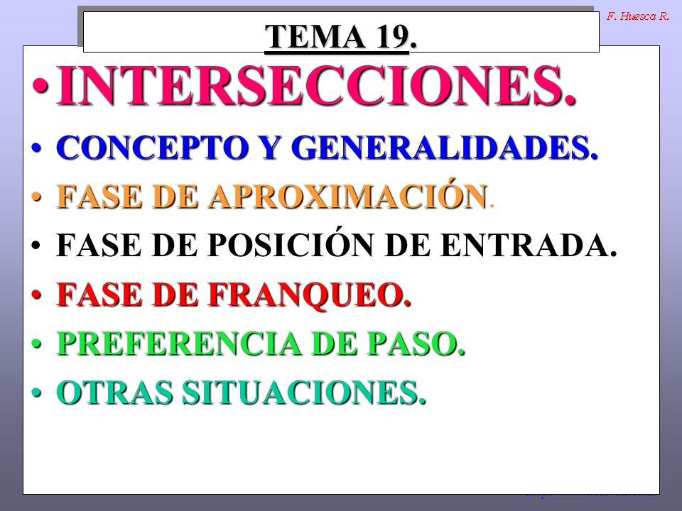 INTERSECCIONES. TEMA 19. CONCEPTO Y GENERALIDADES.