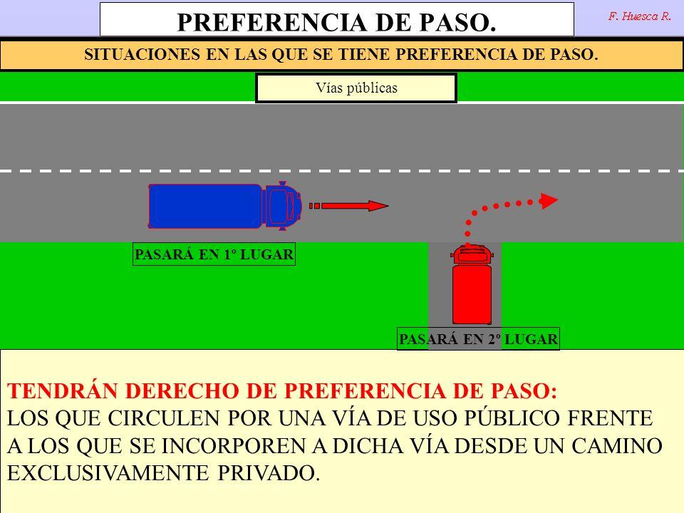 PREFERENCIA DE PASO. TENDRÁN DERECHO DE PREFERENCIA DE PASO: