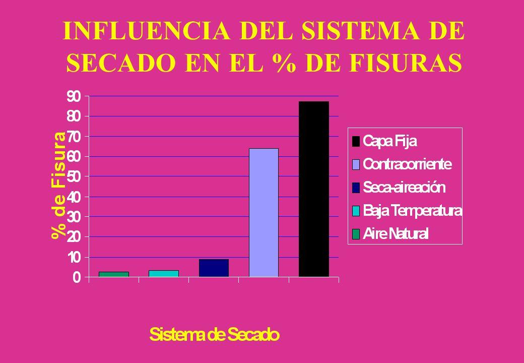 INFLUENCIA DEL SISTEMA DE SECADO EN EL % DE FISURAS