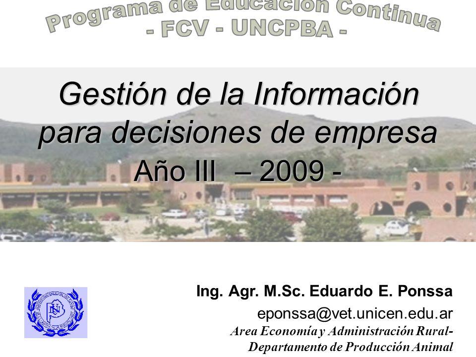 Gestión de la Información para decisiones de empresa Año III – 2009 -