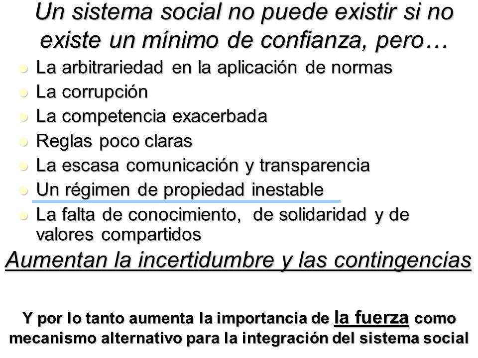 Un sistema social no puede existir si no existe un mínimo de confianza, pero…