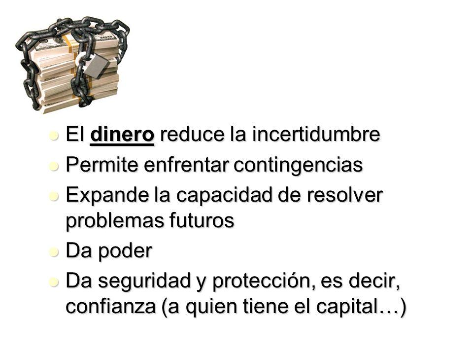 El dinero reduce la incertidumbre