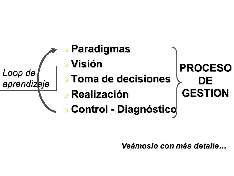 Paradigmas Visión Toma de decisiones PROCESO DE GESTION Realización