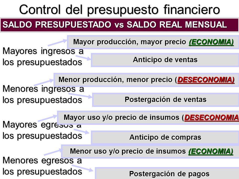 Control del presupuesto financiero