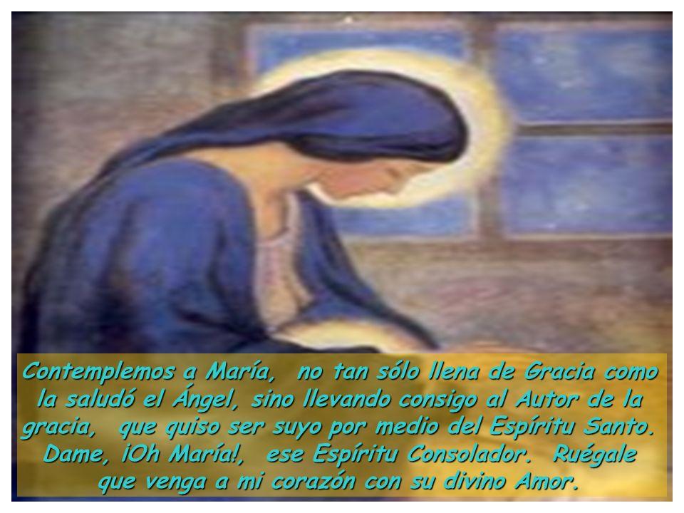 Contemplemos a María, no tan sólo llena de Gracia como la saludó el Ángel, sino llevando consigo al Autor de la gracia, que quiso ser suyo por medio del Espíritu Santo.