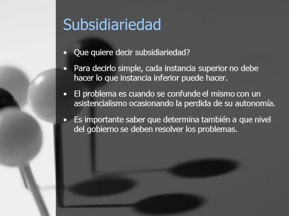 Subsidiariedad Que quiere decir subsidiariedad