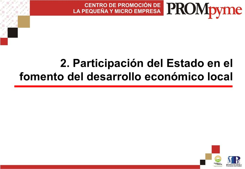 2. Participación del Estado en el fomento del desarrollo económico local