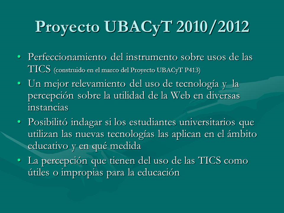 Proyecto UBACyT 2010/2012 Perfeccionamiento del instrumento sobre usos de las TICS (construido en el marco del Proyecto UBACyT P413)