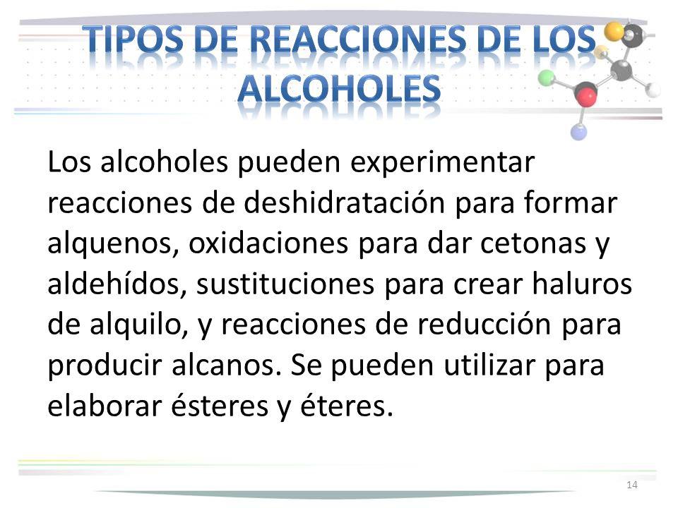 Tipos de reacciones de los alcoholes