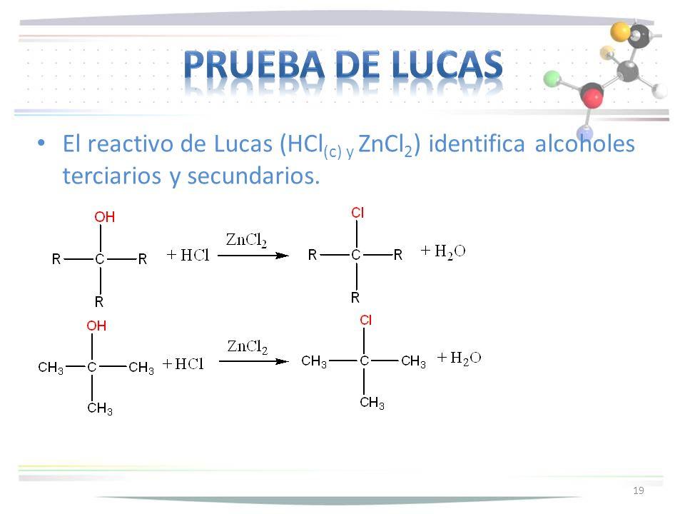 Prueba de lucas El reactivo de Lucas (HCl(c) y ZnCl2) identifica alcoholes terciarios y secundarios.