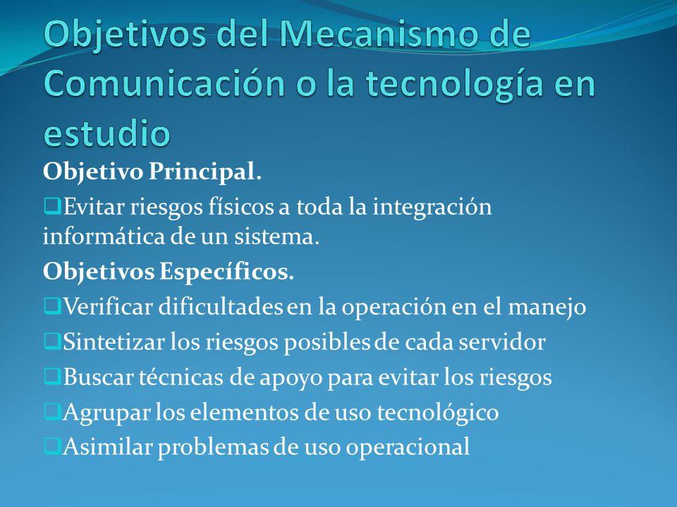 Objetivos del Mecanismo de Comunicación o la tecnología en estudio