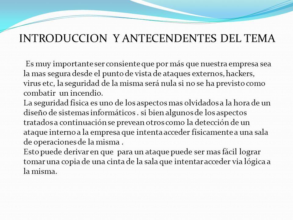 INTRODUCCION Y ANTECENDENTES DEL TEMA