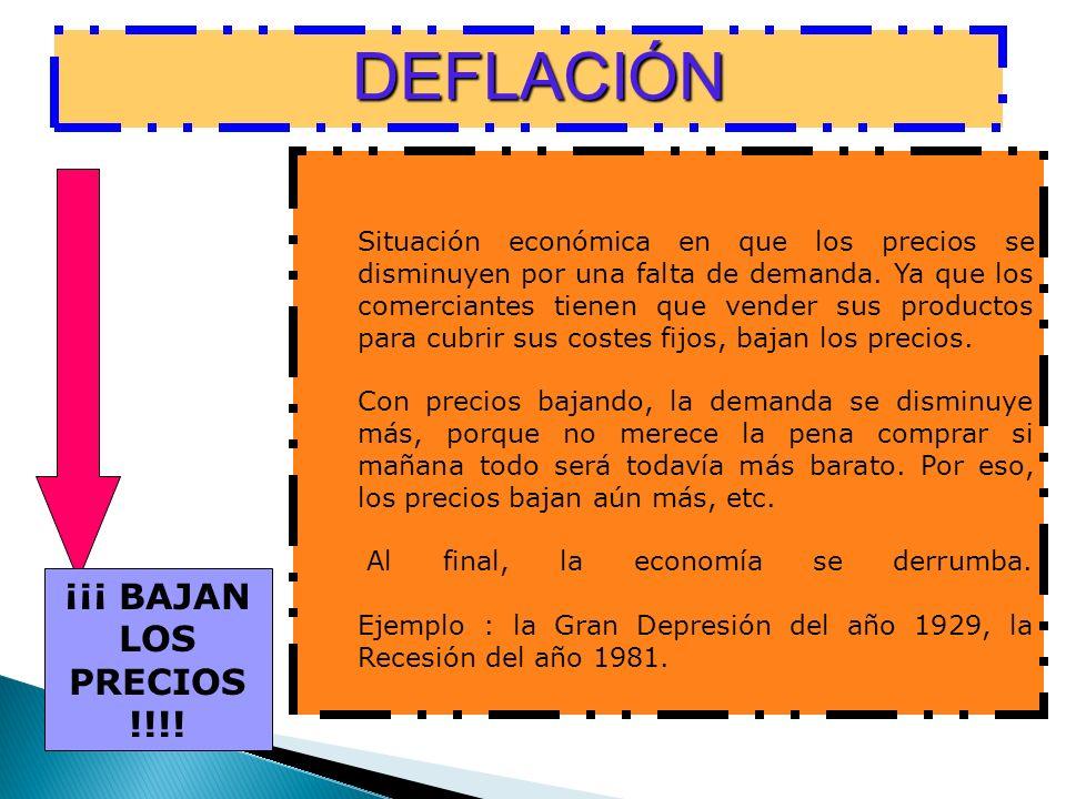 DEFLACIÓN ¡¡¡ BAJAN LOS PRECIOS !!!!