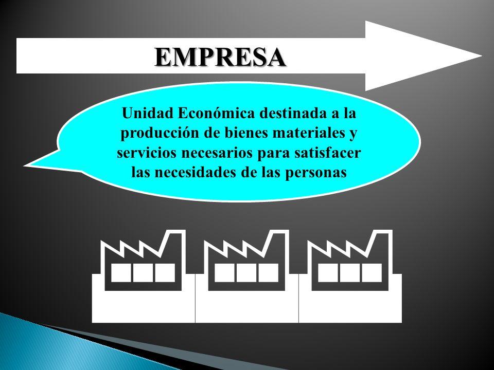 EMPRESA Unidad Económica destinada a la producción de bienes materiales y servicios necesarios para satisfacer las necesidades de las personas.