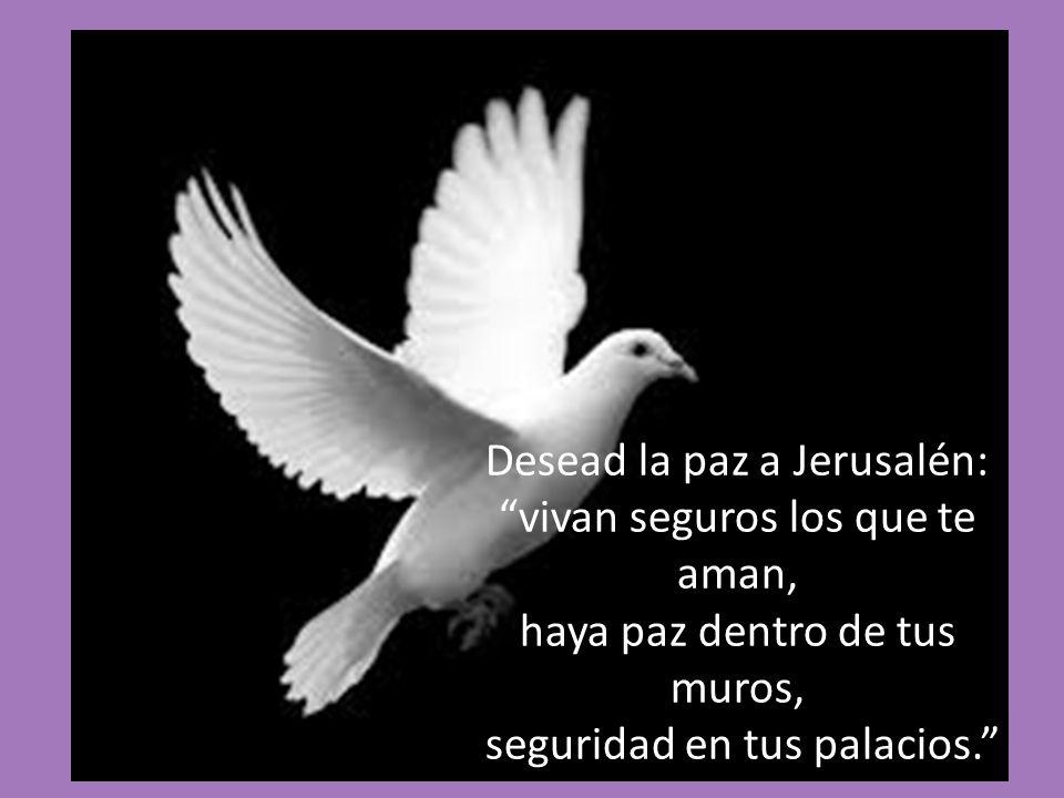 Desead la paz a Jerusalén: vivan seguros los que te aman, haya paz dentro de tus muros, seguridad en tus palacios.