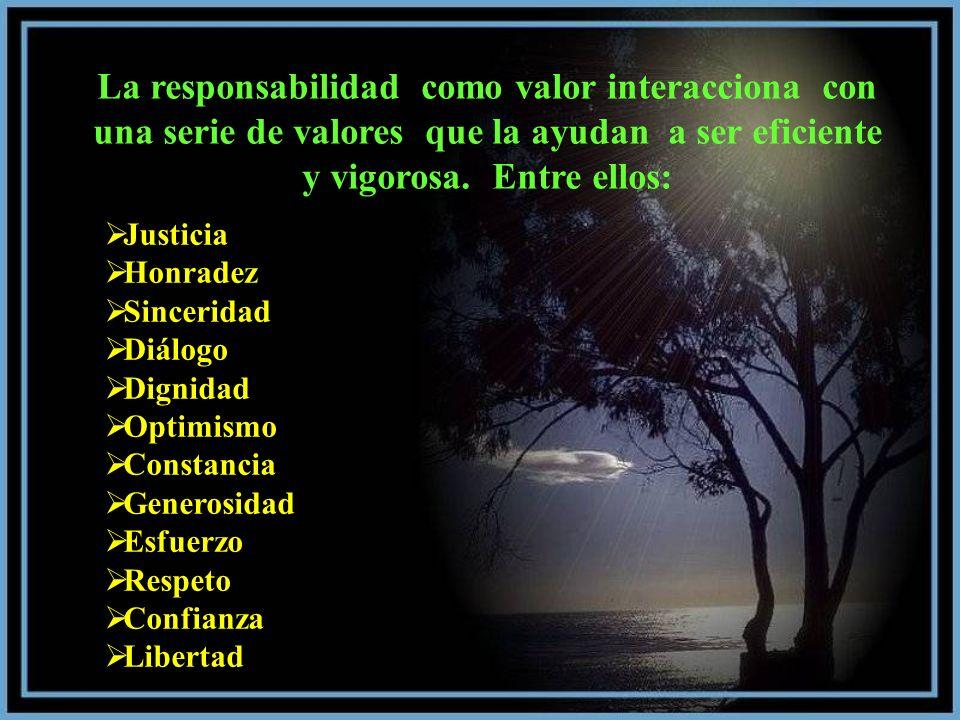 La responsabilidad como valor interacciona con una serie de valores que la ayudan a ser eficiente y vigorosa. Entre ellos: