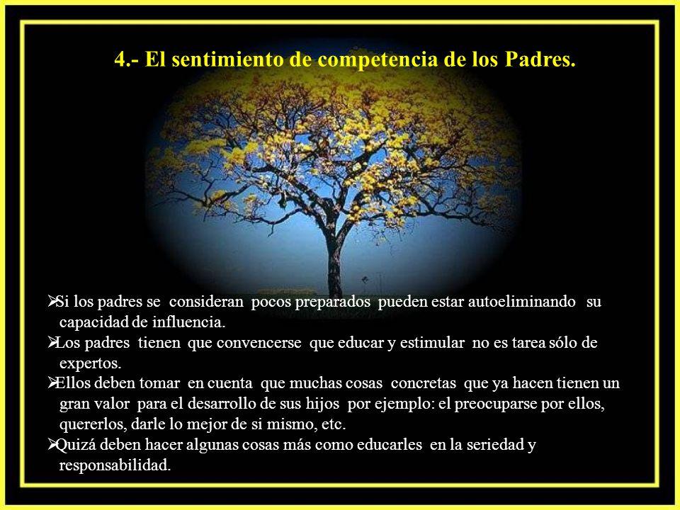4.- El sentimiento de competencia de los Padres.