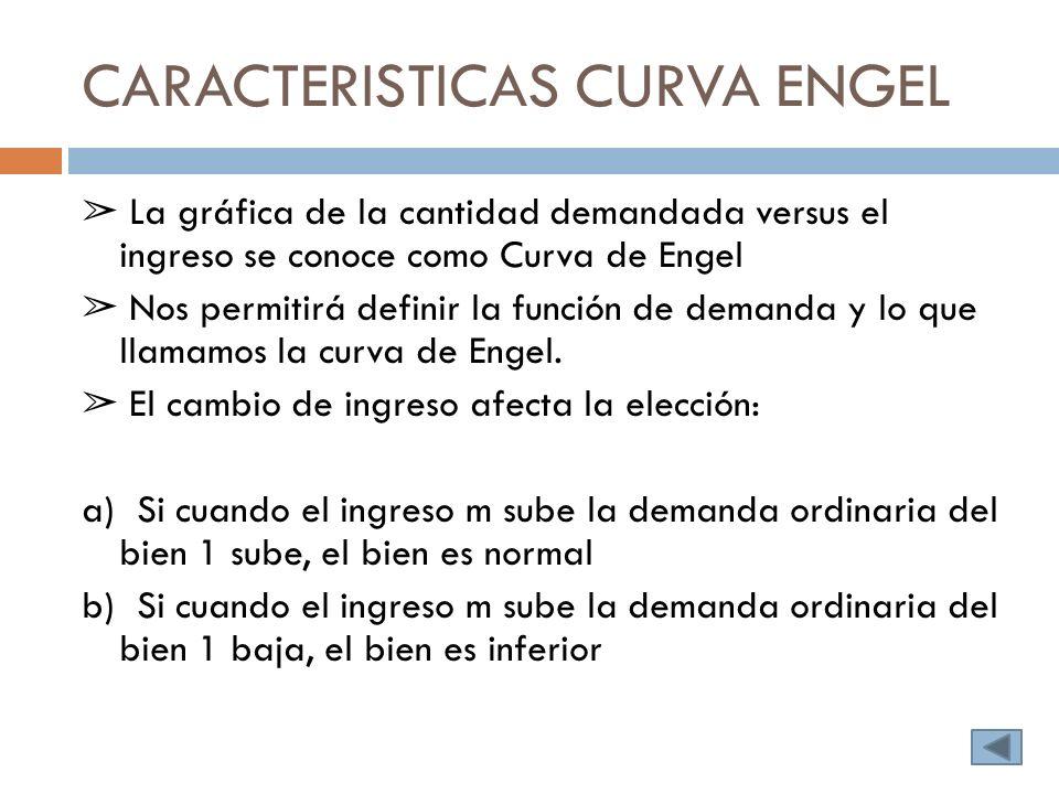 CARACTERISTICAS CURVA ENGEL