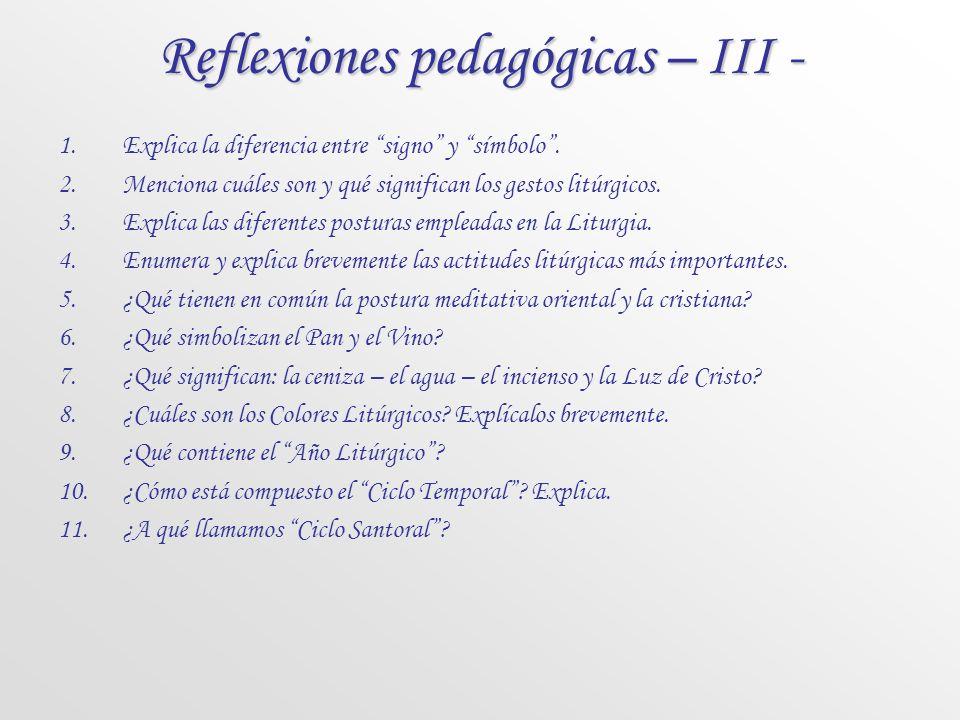 Reflexiones pedagógicas – III -