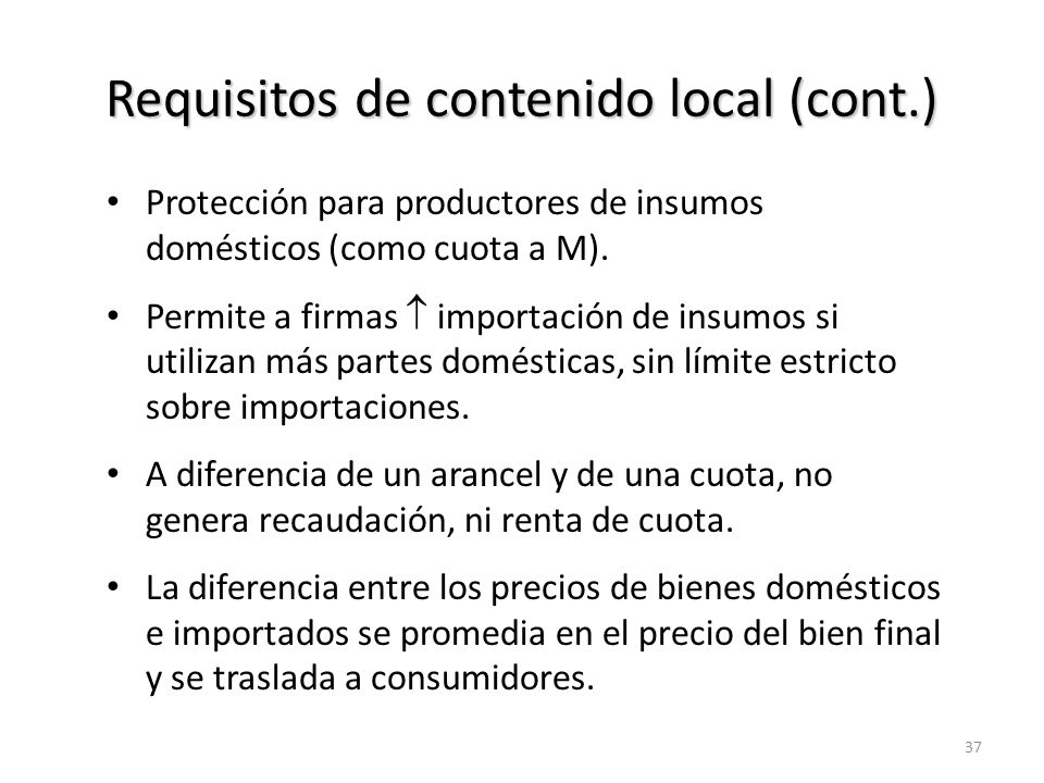 Requisitos de contenido local (cont.)