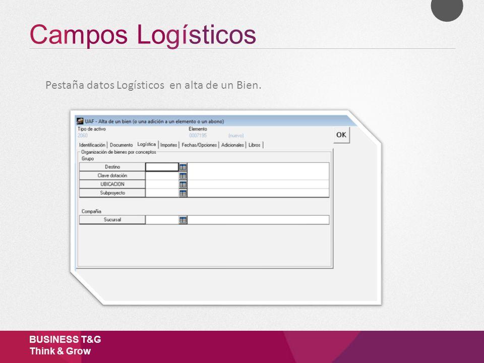 Campos Logísticos Pestaña datos Logísticos en alta de un Bien.