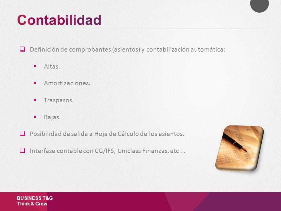 Contabilidad Definición de comprobantes (asientos) y contabilización automática: Altas. Amortizaciones.