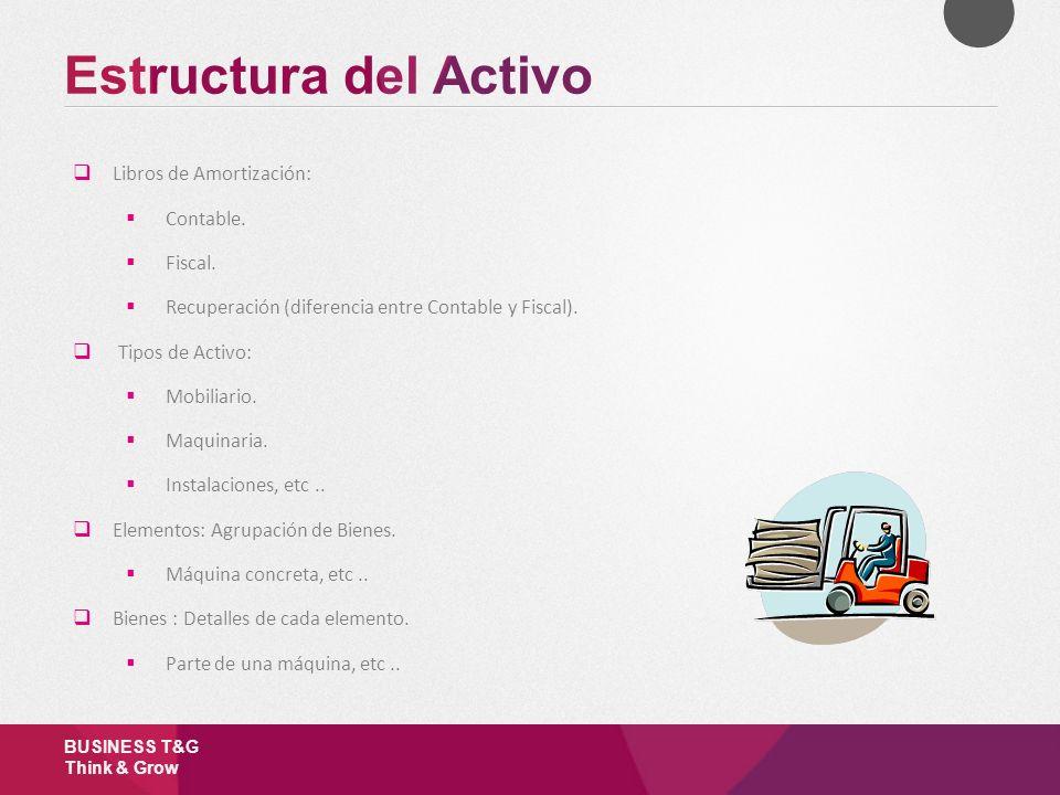 Estructura del Activo Libros de Amortización: Contable. Fiscal.