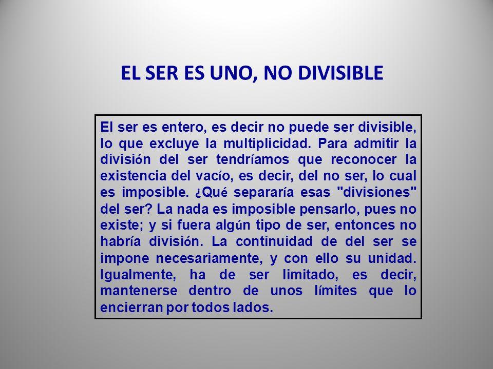 EL SER ES UNO, NO DIVISIBLE