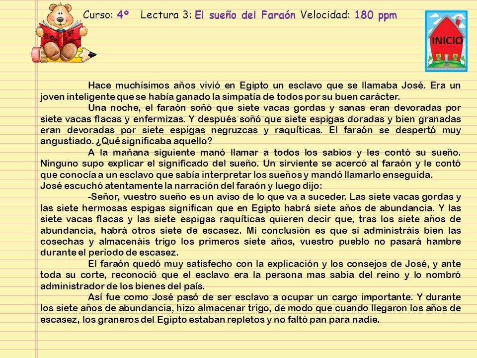 Curso: 4º Lectura 3: El sueño del Faraón Velocidad: 180 ppm