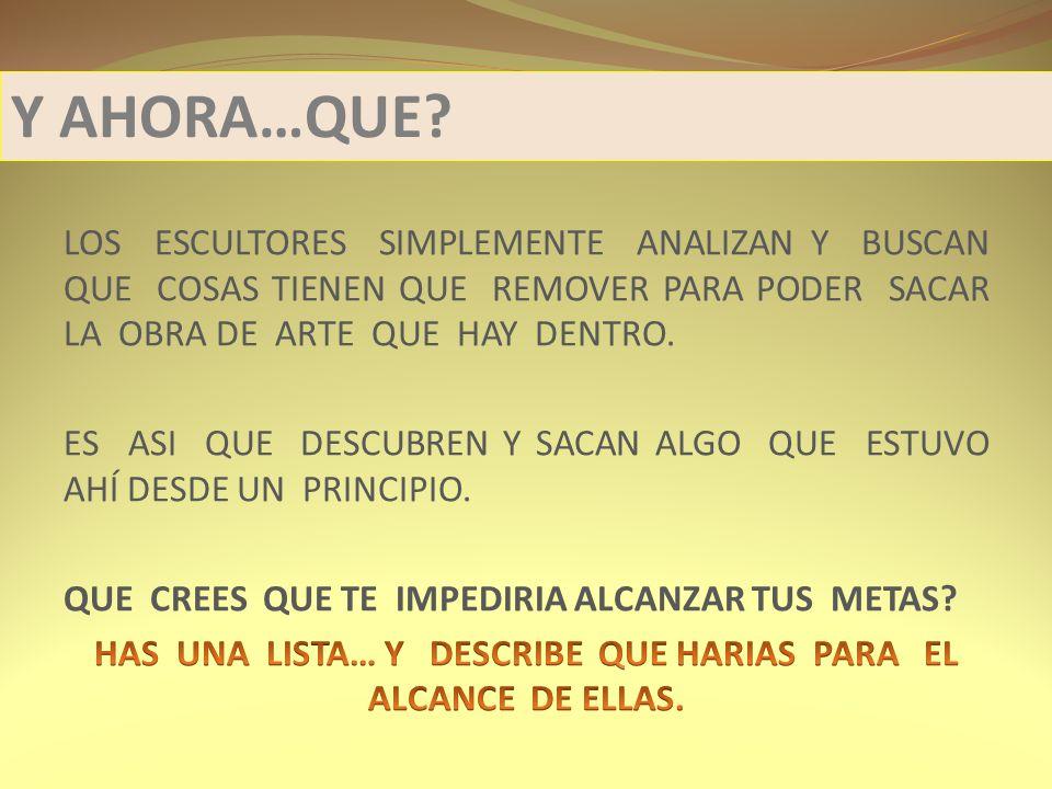 HAS UNA LISTA… Y DESCRIBE QUE HARIAS PARA EL ALCANCE DE ELLAS.