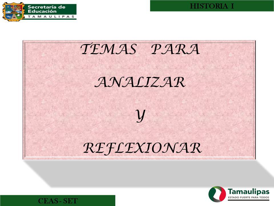 HISTORIA I TEMAS PARA ANALIZAR Y REFLEXIONAR CEAS - SET