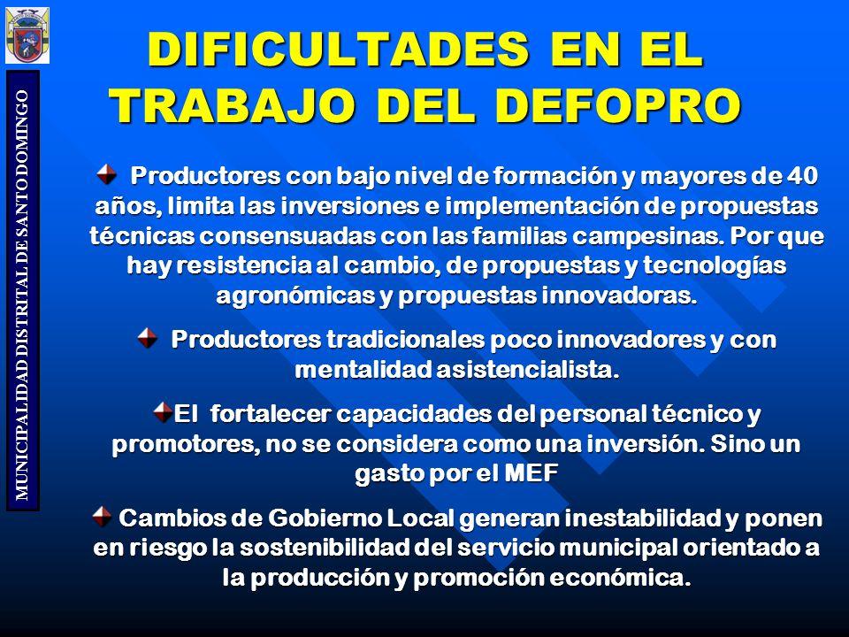 DIFICULTADES EN EL TRABAJO DEL DEFOPRO