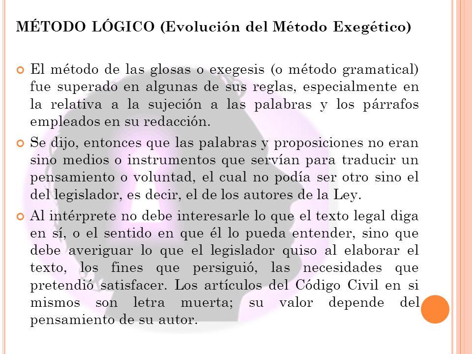 MÉTODO LÓGICO (Evolución del Método Exegético)