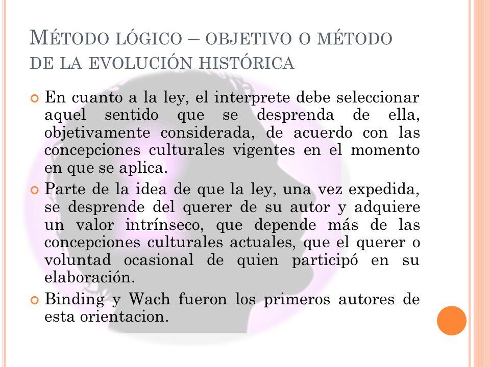 Método lógico – objetivo o método de la evolución histórica