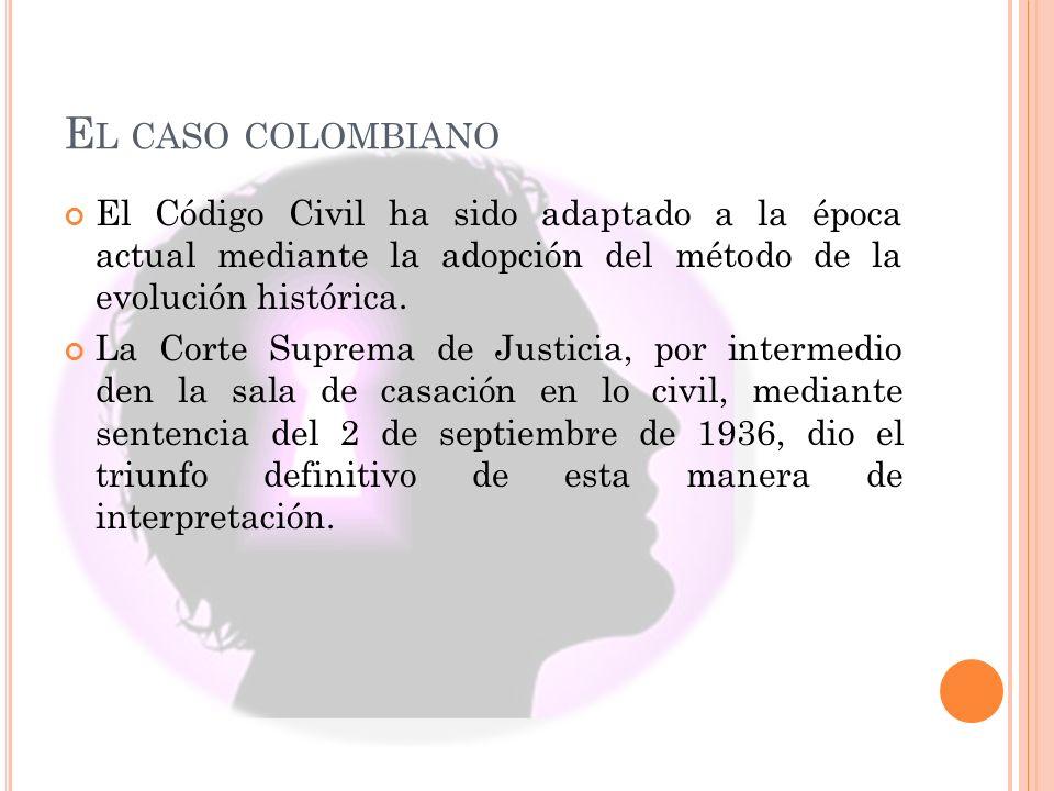 El caso colombiano El Código Civil ha sido adaptado a la época actual mediante la adopción del método de la evolución histórica.