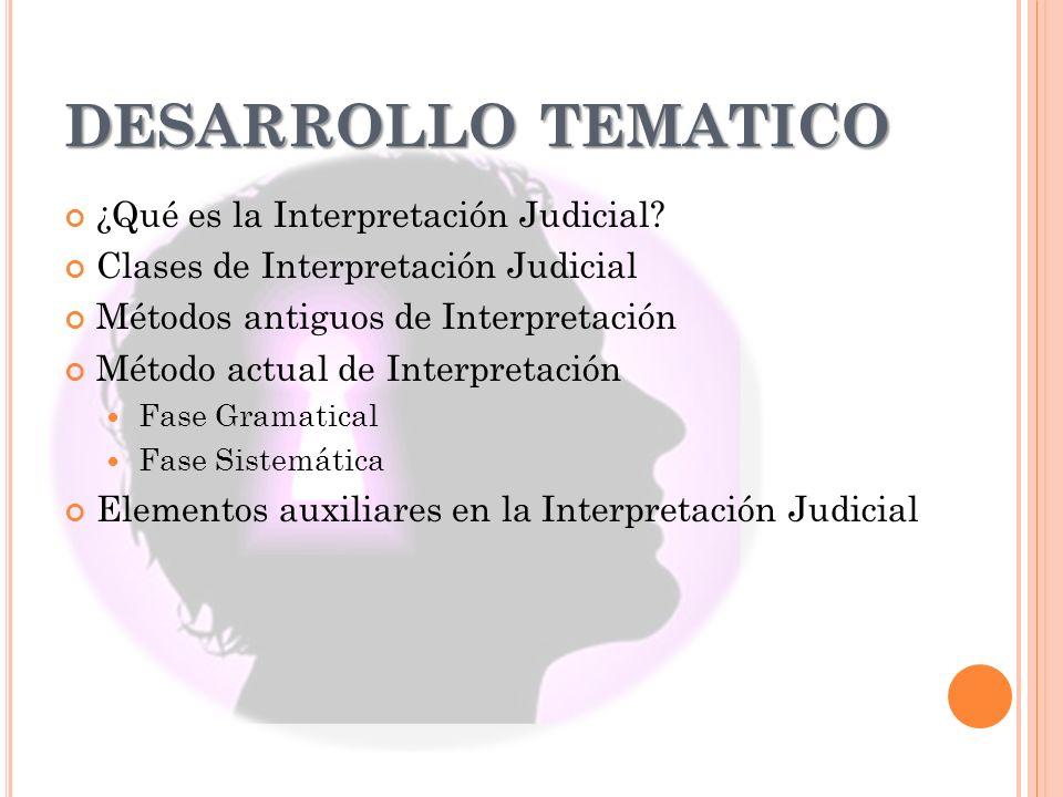 DESARROLLO TEMATICO ¿Qué es la Interpretación Judicial