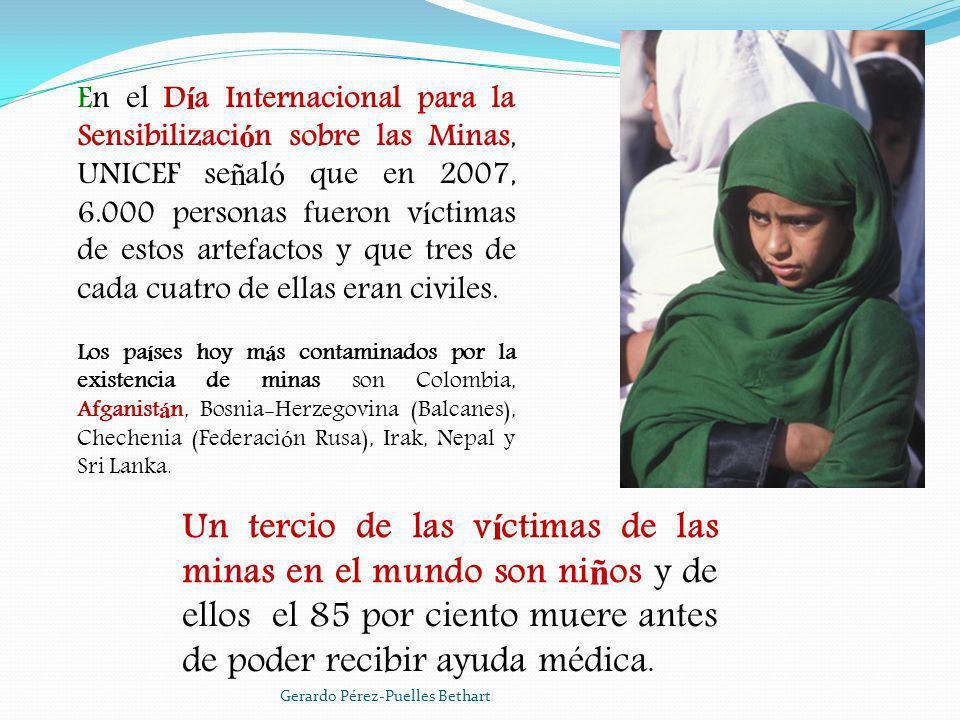 En el Día Internacional para la Sensibilización sobre las Minas, UNICEF señaló que en 2007, 6.000 personas fueron víctimas de estos artefactos y que tres de cada cuatro de ellas eran civiles.
