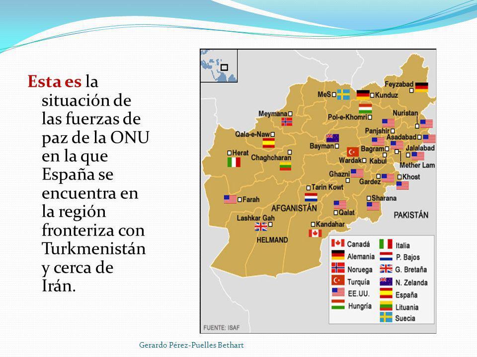 Esta es la situación de las fuerzas de paz de la ONU en la que España se encuentra en la región fronteriza con Turkmenistán y cerca de Irán.