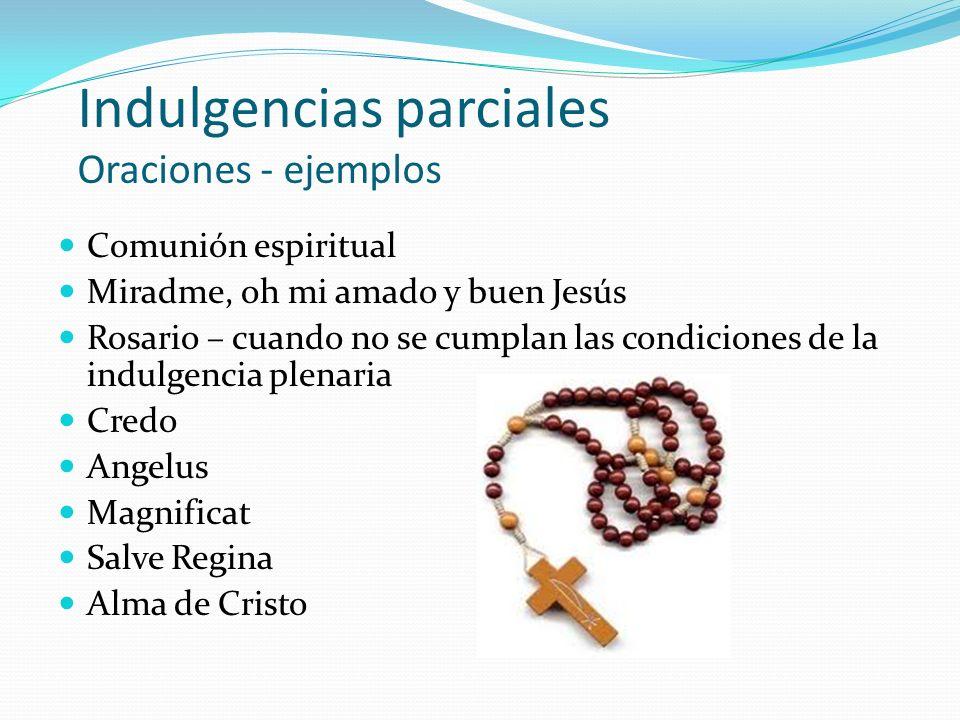 Indulgencias parciales Oraciones - ejemplos