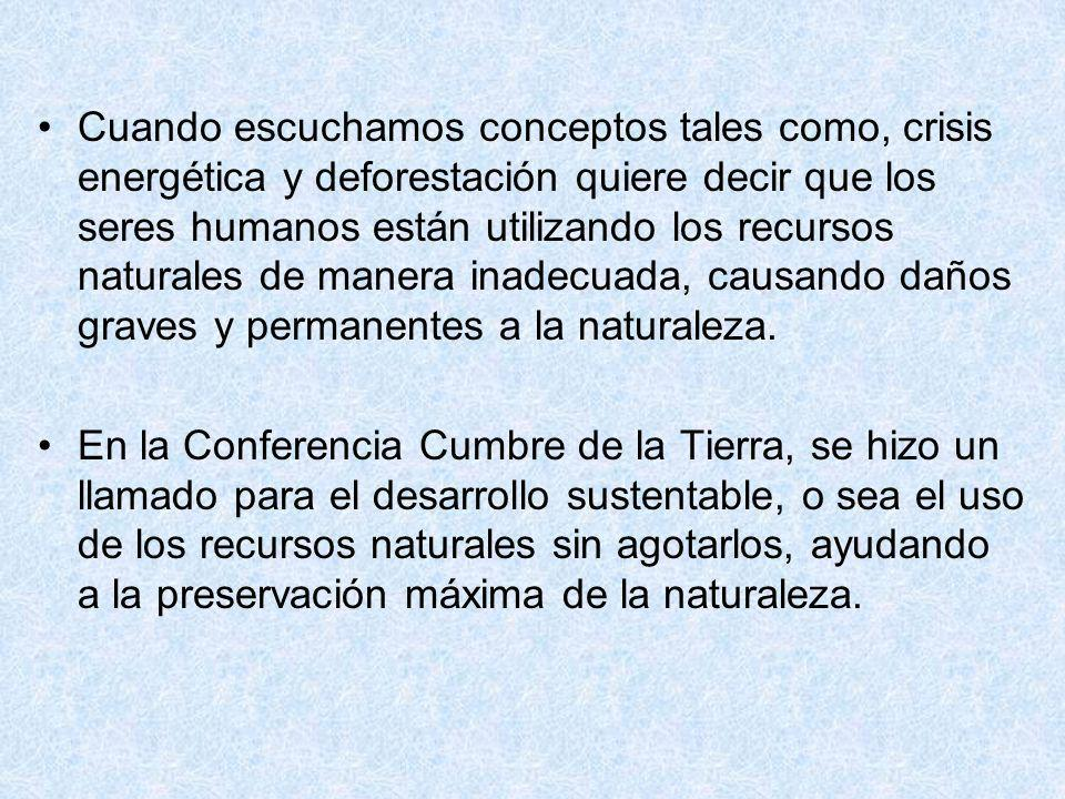Cuando escuchamos conceptos tales como, crisis energética y deforestación quiere decir que los seres humanos están utilizando los recursos naturales de manera inadecuada, causando daños graves y permanentes a la naturaleza.