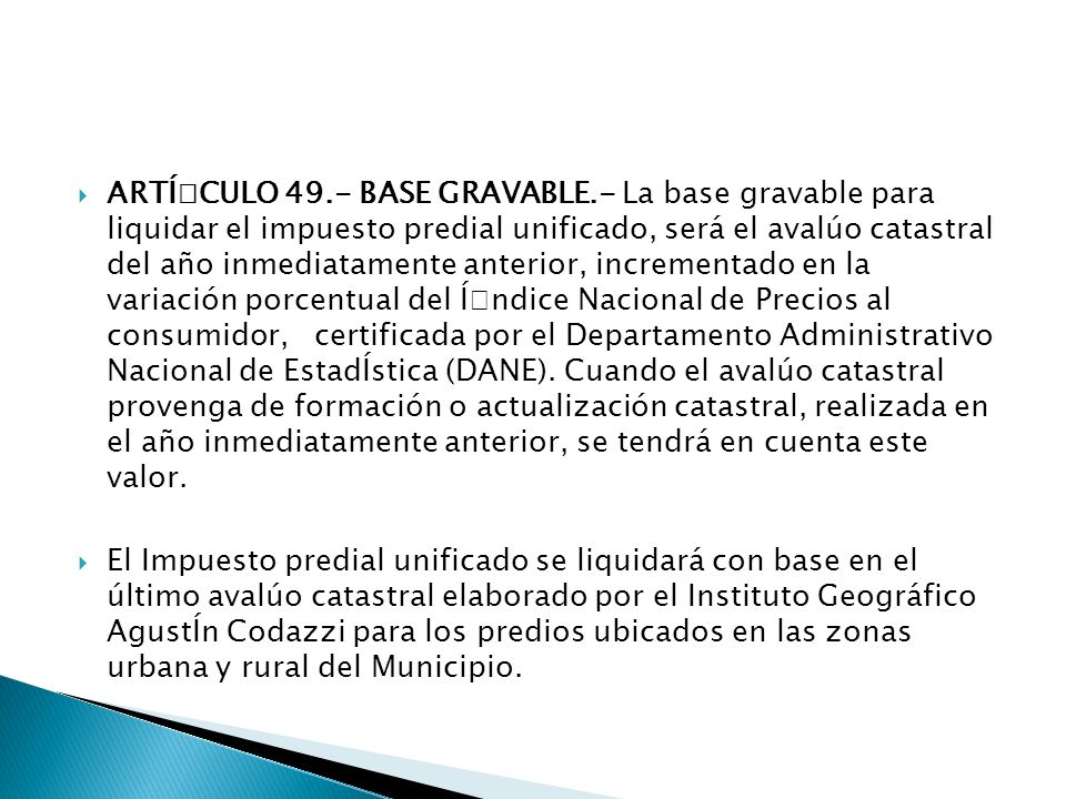 ART͍CULO 49. - BASE GRAVABLE