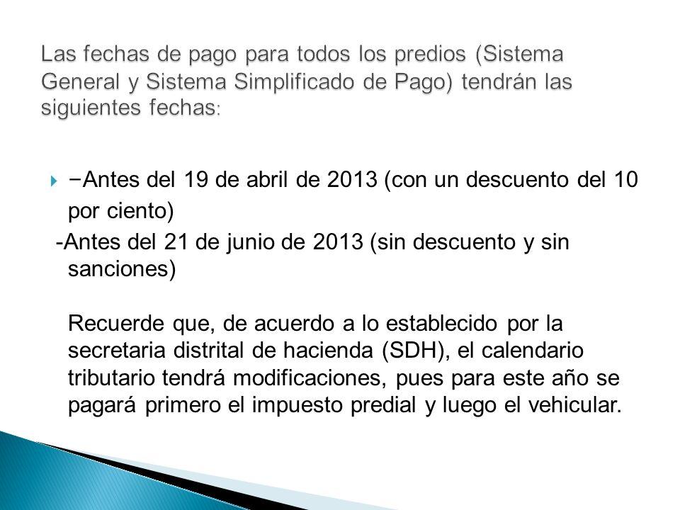 -Antes del 19 de abril de 2013 (con un descuento del 10 por ciento)