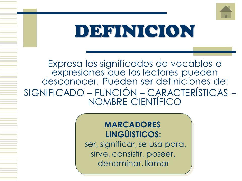 DEFINICION Expresa los significados de vocablos o expresiones que los lectores pueden desconocer. Pueden ser definiciones de: