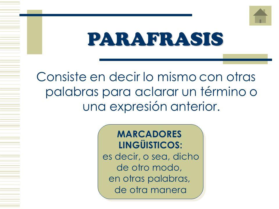 PARAFRASIS Consiste en decir lo mismo con otras palabras para aclarar un término o una expresión anterior.