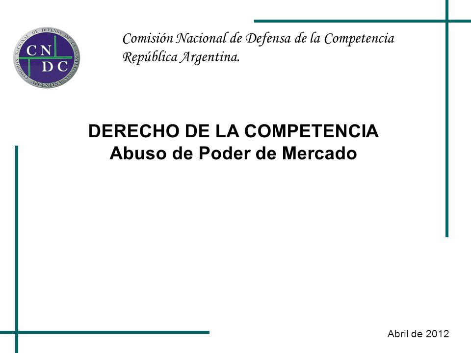 DERECHO DE LA COMPETENCIA Abuso de Poder de Mercado