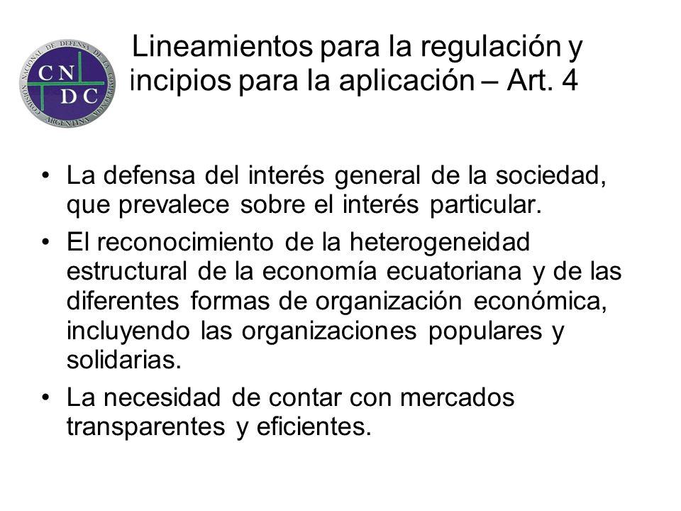 Lineamientos para la regulación y principios para la aplicación – Art