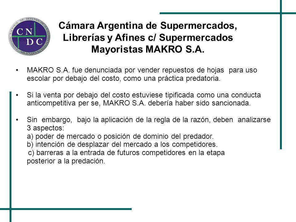 Cámara Argentina de Supermercados, Librerías y Afines c/ Supermercados