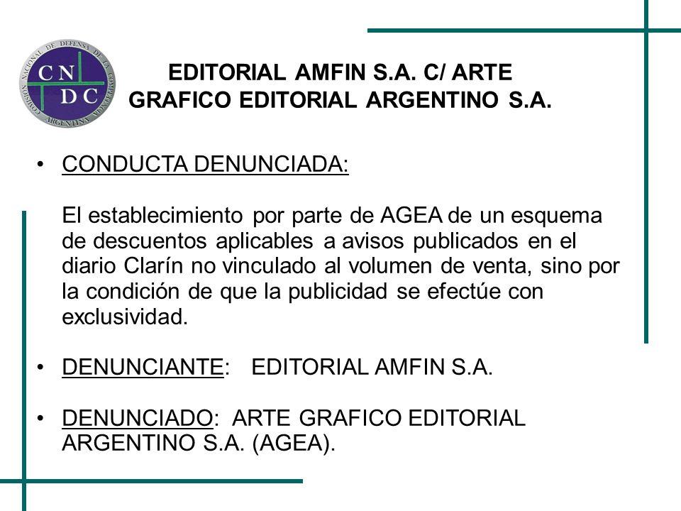 EDITORIAL AMFIN S.A. C/ ARTE GRAFICO EDITORIAL ARGENTINO S.A.