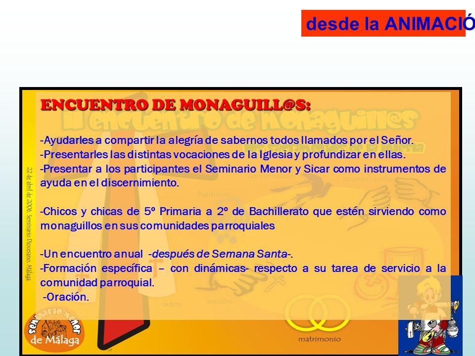 desde la ANIMACIÓN: ENCUENTRO DE MONAGUILL@S: