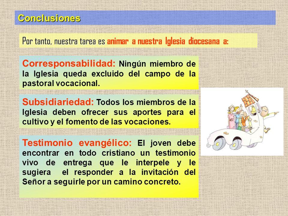 ConclusionesPor tanto, nuestra tarea es animar a nuestra Iglesia diocesana a: